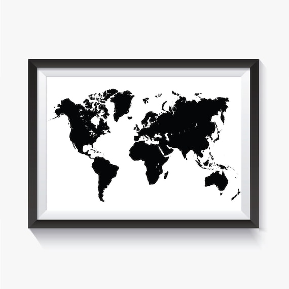 Black World Map Black Map Black Travel Map Printable | Etsy