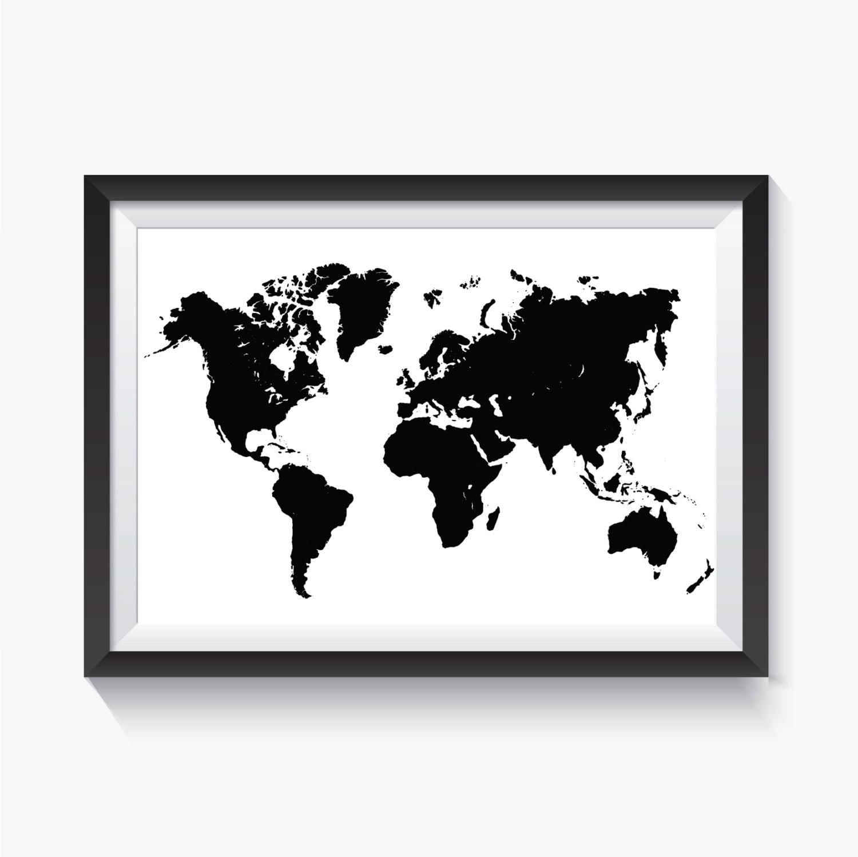 Black World Map Black Map Black Travel Map Printable | Etsy
