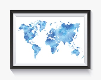 Watercolor World Map - Blue Watercolor Map - Blue World Map - World Map Print - Printable World Map - Travel Map - Map Poster - Home Decor