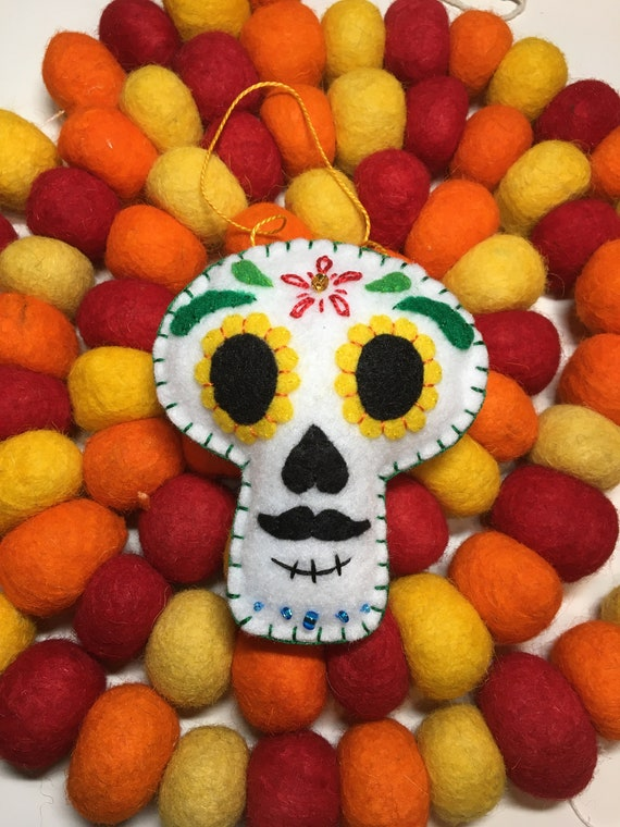 Sugar Skull Ornament Orange Glitter Day of the Dead Calavera Decor Gift