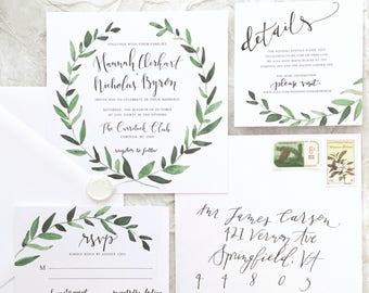 Circle Leaves Garland Watercolor Square Wedding Invitation