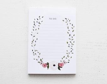 """Botanical Wreath """"To Do"""" Notepad"""