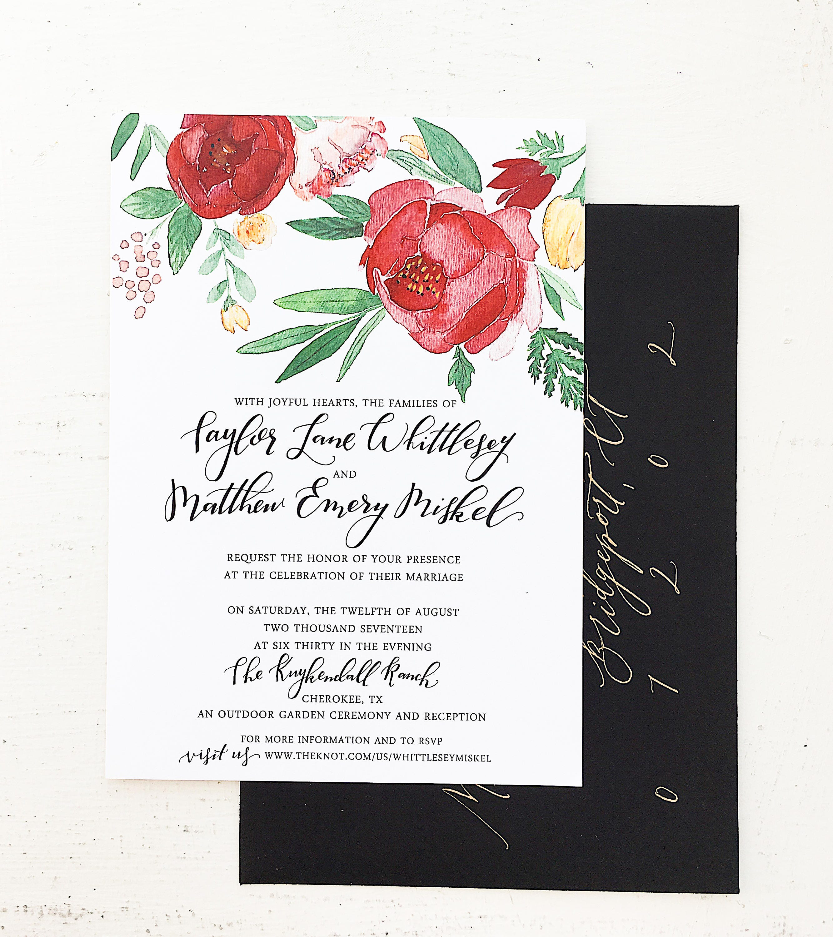 Red and Gold Floral Watercolor Wedding Invitation   Etsy
