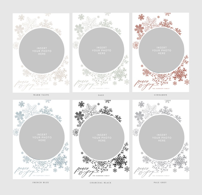 hipster neutral dusty blue minimalistic nature Botanical Snowflakes Christmas Photo Card 6 Ink Color Options Hand-drawn