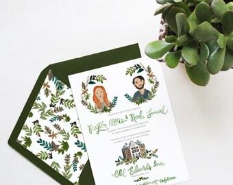 Custom-Painted His & Her Portrait Wedding Invitation