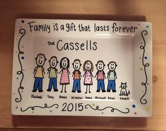 Personalized Stick Figure Family- Decorative Plate