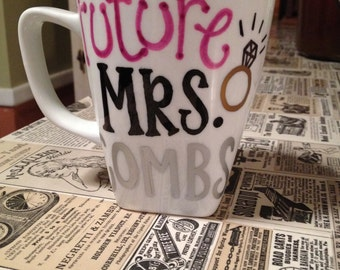 """Personalized Mug for Bride-to-Be """"Future Mrs. ______"""""""