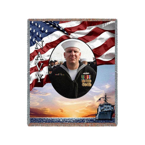 Military Blanket Customized Photo Blankets Us Navy Gifts Etsy
