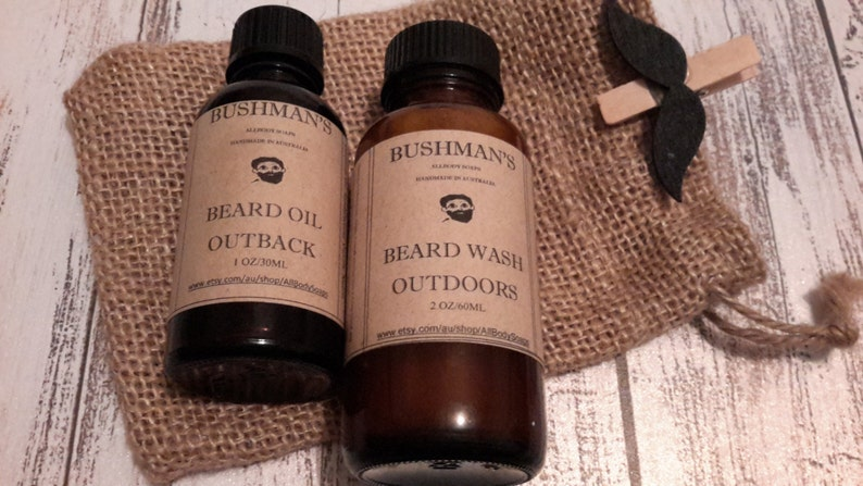 Bushman's Beard Shampoo & Beard Conditioning Oil Gift Set packaged in an  Hessian Draw String Bag - Mix and Match - You choose