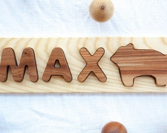 Wooden toy Animal name puzzle Baby name puzzle Wooden name puzzle Kids name puzzle Name puzzle girl Personalized name puzzle Nature puzzle