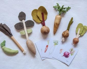 Pretend to play Vegetables Toys, Play Food Set, Montessori Materials, Waldorf Toys, Play kitchen set, Kids kitchen toys, Christmas gift, #VG