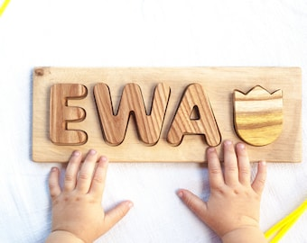 Baby name puzzle Wooden name puzzle 3 name puzzle Wood puzzle name  1st Birthday gift name puzzle Nature puzzle for kids Personalized puzzle