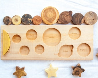 Baby christmas gift, 2020 Planet puzzle, Puzzle Board, Space themed nursery decor, Space baby shower, Space puzzle kids, Wooden toy puzzle
