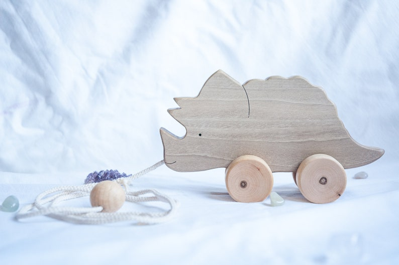 Wooden Toys Triceratops Eco Friendly Wood Toys For 1 Year Old Baby Toys On Wheels Dinosaur Pull Toy