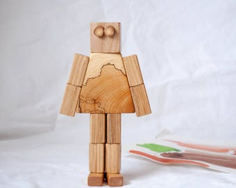 Wooden robot toy MAMUBEE, Robot toy, Magnetic toy robot , Action toy, Transformer toy, Kids gift, Kids toy, Toy for boy, Pretend to play