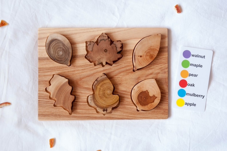 Wooden Leaf Puzzle Montessori Toy Organic Toy Educational image 0