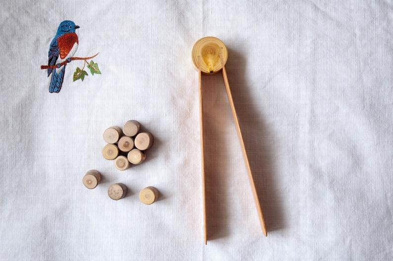 Montessori wooden tweezers Toddler gift Wooden Tongs image 1