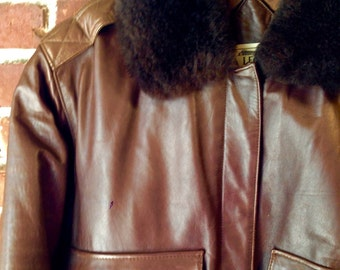 Vtg Classic Buttery Soft Leather Bomber Jacket ~ Antique Brown ~ Fur Shearling Collar Like New 1990's Small Medium