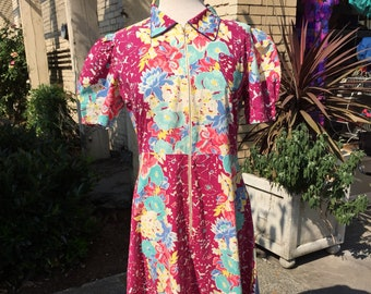 40's full length dress~ cotton floral print~ 1940's Maxi dress~ dressing gown~ day dress~ plus size vintage