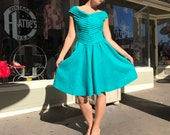 Vintage crisp linen dress fit n flare 80 39 s cheveron pleat dress teal like green jewel tone flirty sun dress