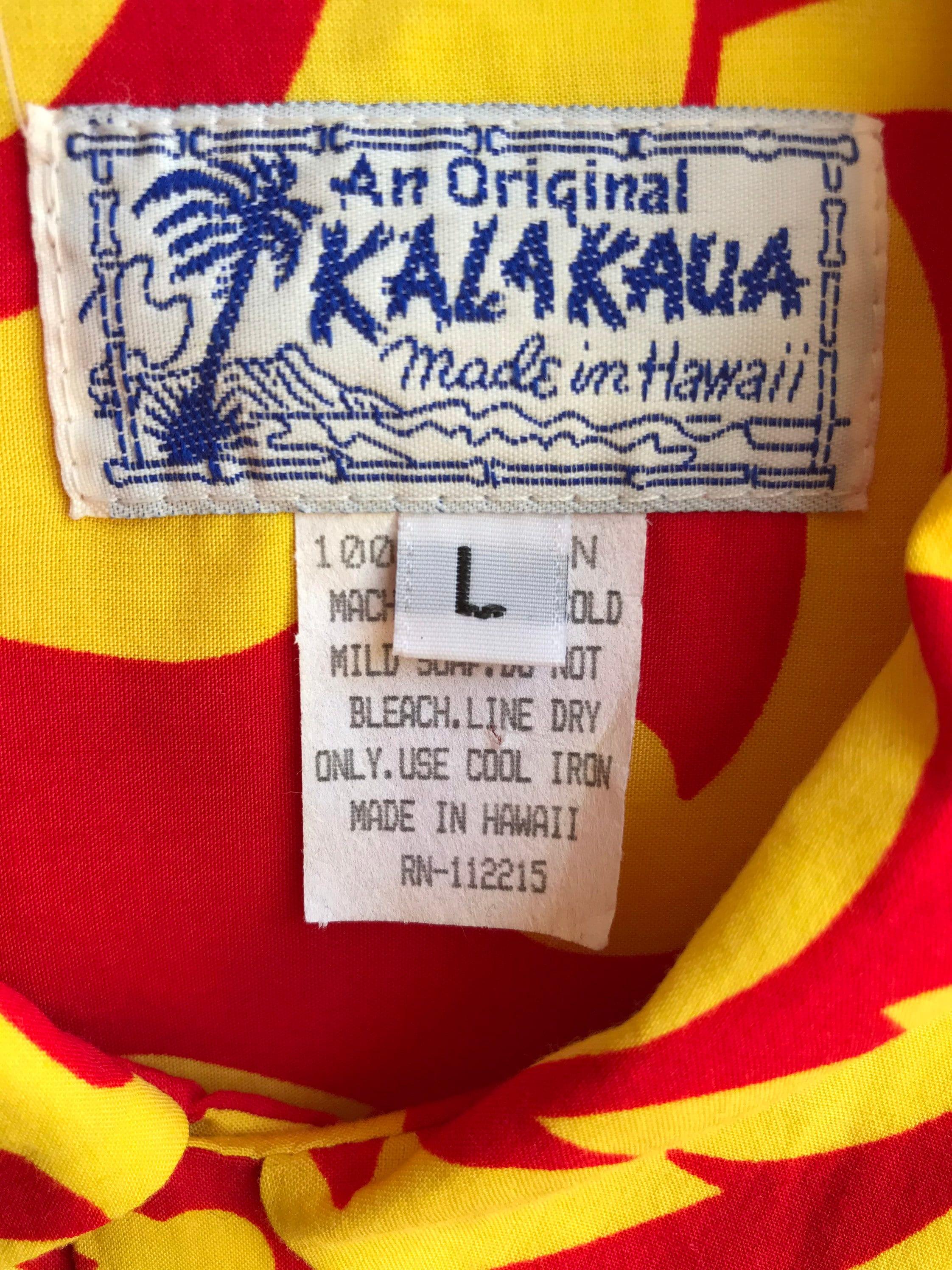 1950s Mens Hats | 50s Vintage Men's Hats Kalakaua Mens Vintage Hawaiian Shirt Bright Bold Vivid Colors Yellow  Red Tiki Style Rayon Made in Hawaii Rockabilly Size Large $20.00 AT vintagedancer.com