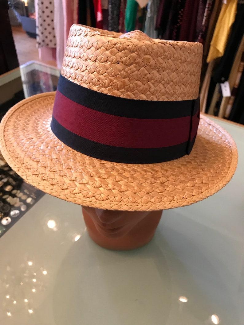 5c961a669 Boater hat Summer hat Vintage mens hat size 6 3/4 1950's | Etsy