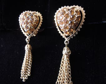 Topaz Rhinestone Gold Heart Tassle Clip-On ~yellow & gold~Earrings 80's 90's