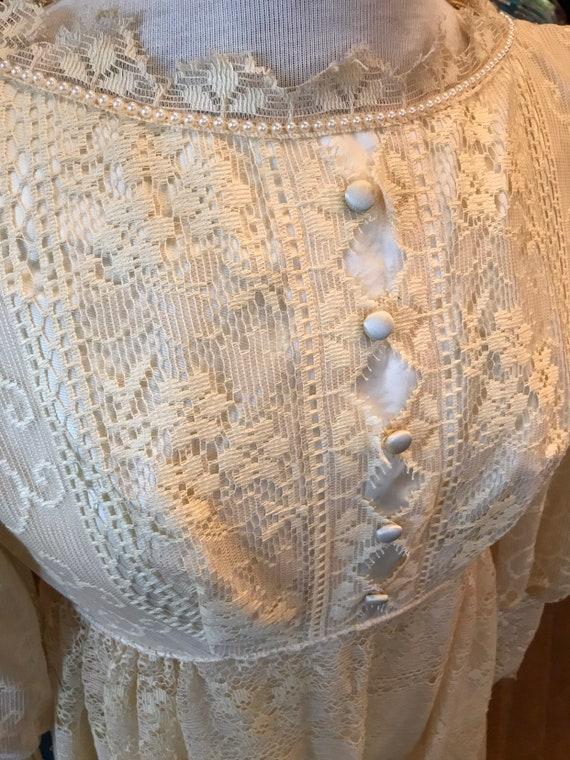 60's boho lace Princess Bride dress| Long Maxi go… - image 4
