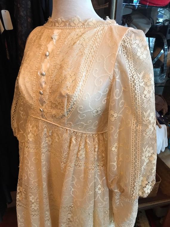 60's boho lace Princess Bride dress| Long Maxi go… - image 2