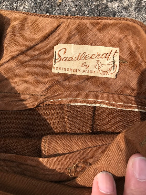 40's 1940's brown riding pants~ high waisted vint… - image 3