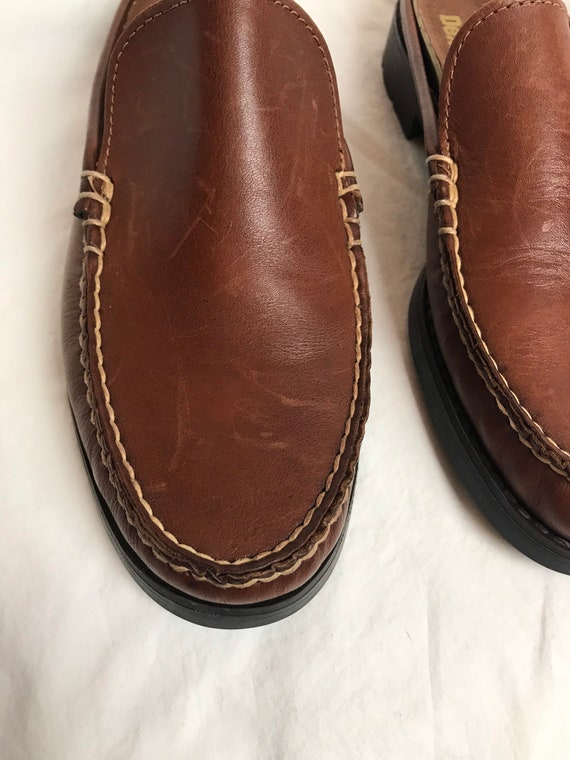 90's slip on loafers~ nice brown leather slip on … - image 2