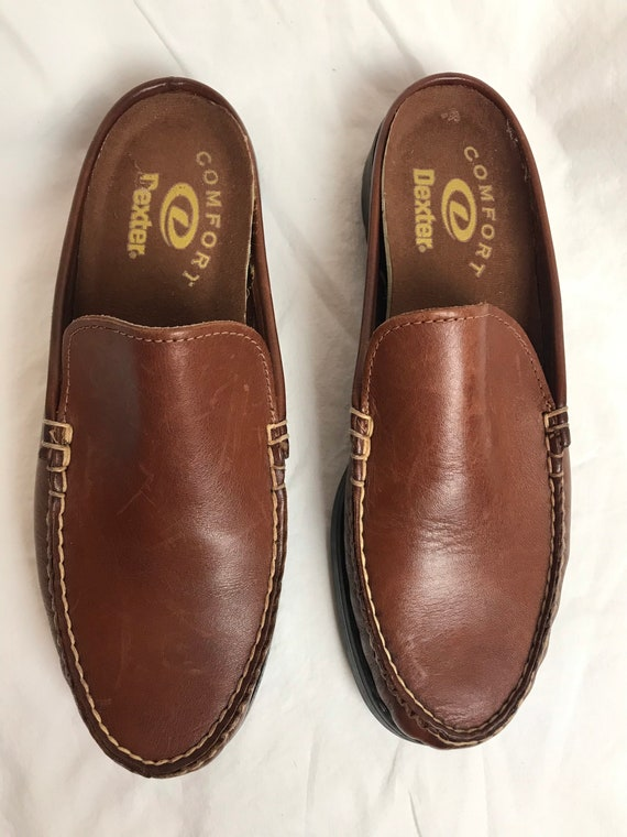 90's slip on loafers~ nice brown leather slip on … - image 3