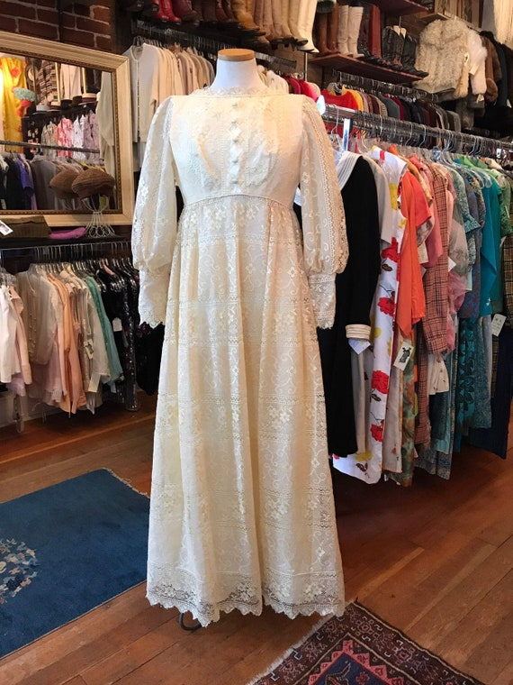 60's boho lace Princess Bride dress| Long Maxi gow