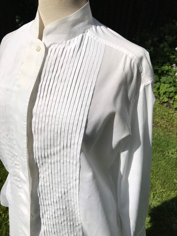 90's women's tuxedo blouse~ bright white Eileen Tr