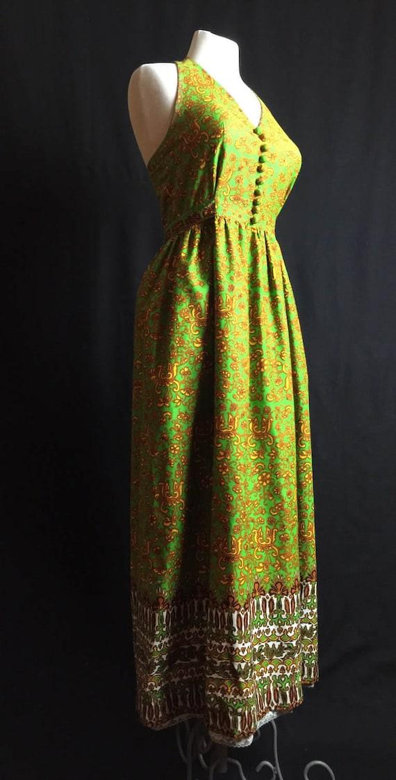 70's maxi dress bright lime green mustard yellow b