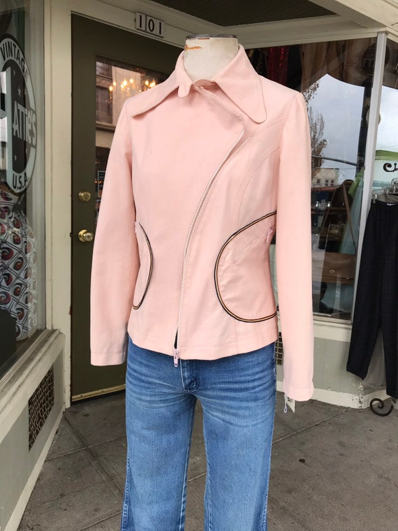 70's hipster Pink  Motorcycle jacket~  Roncelli 19