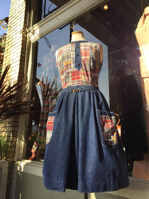 50's-60's denim dress~ vintage Wrap style fit & fl