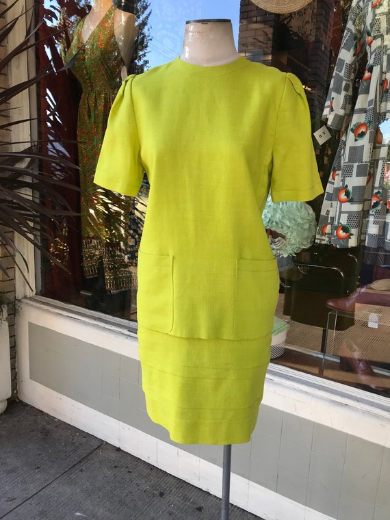 80's Neon Chartreuse structured linen dress~ Moder