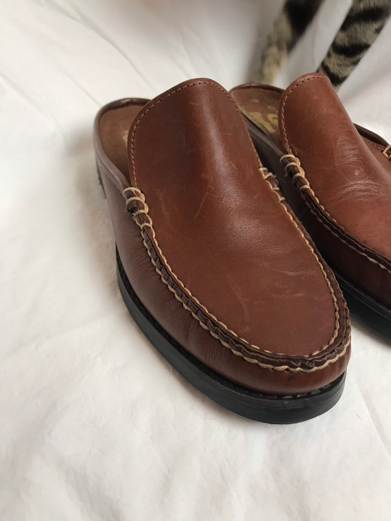 90's slip on loafers~ nice brown leather slip on … - image 5