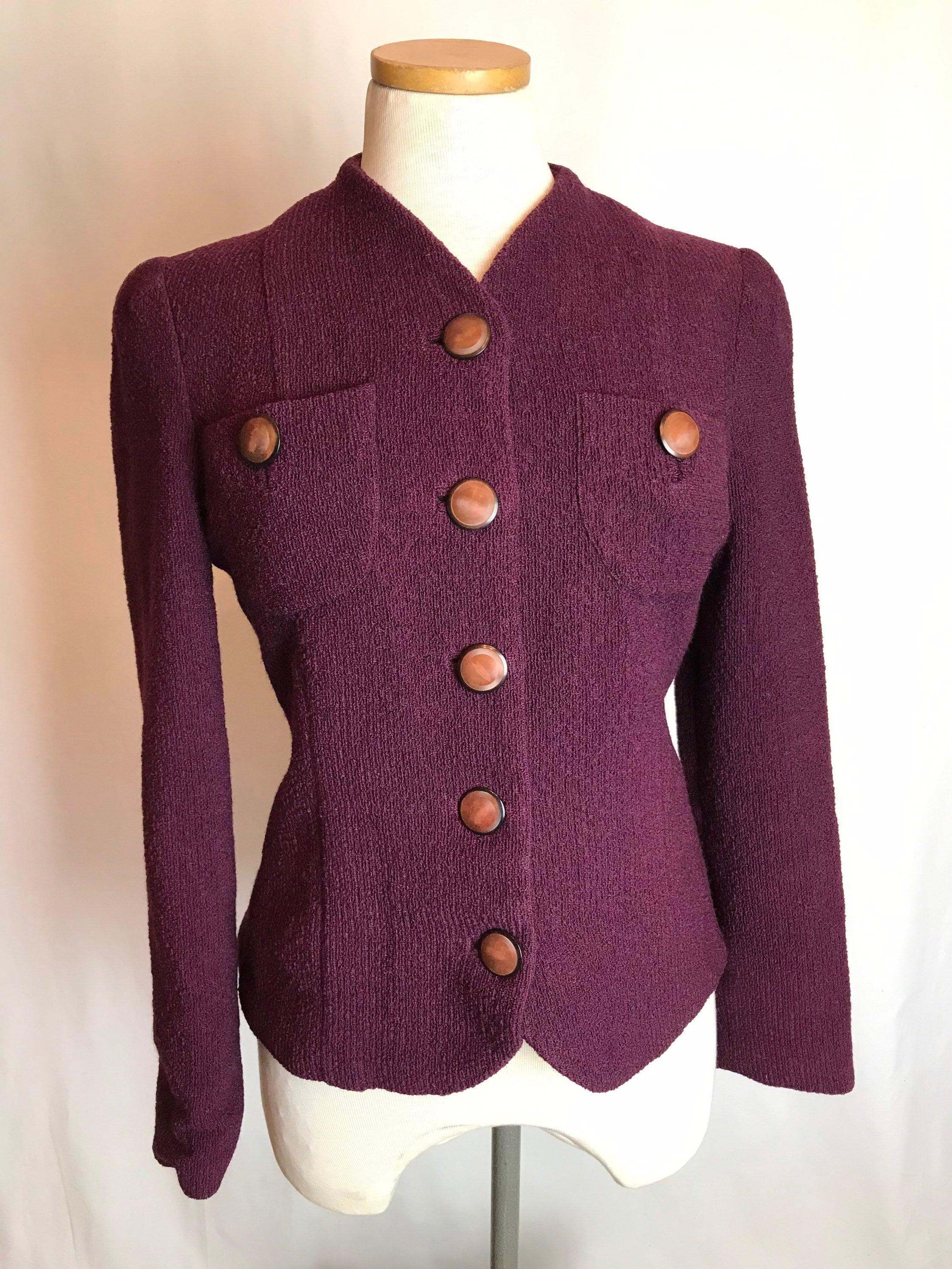 1950s Hats: Pillbox, Fascinator, Wedding, Sun Hats 50s Purple Wool Knit Blazer Fitted Womens Suit Jacket Plum Purple Nubby 1950s -60s Size Small 36 Bust $34.00 AT vintagedancer.com
