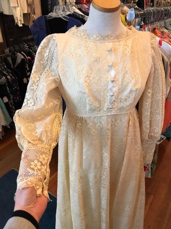 60's boho lace Princess Bride dress| Long Maxi go… - image 5