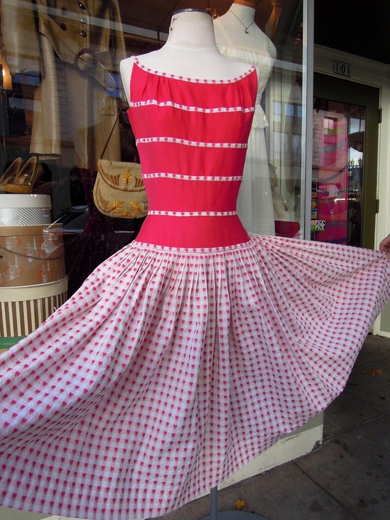 50's Red Pink Pin Up Fit 'n Flare Sun Dress   rock