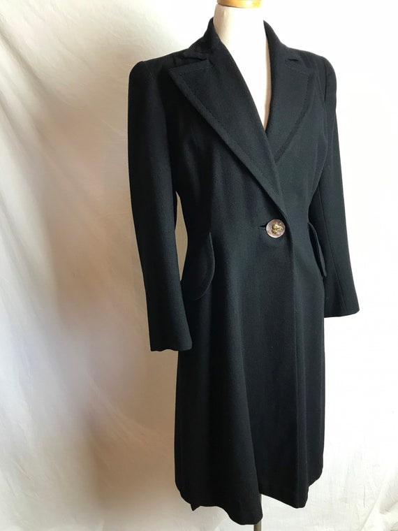 1940's black sophisticated swing coat~ cinched wai