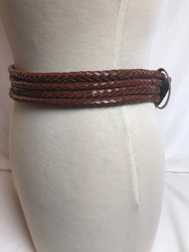 90\u2019s brown braided leather chunky southwestern stylish boho hippie thick gage silver buckle~ trendy hipster 1990s Brighton style~ medium