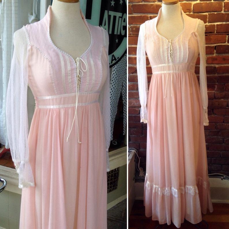 a1f0bca29c Gunne Sax dress pale pink & white Maxi Dress Lace Up Corset | Etsy