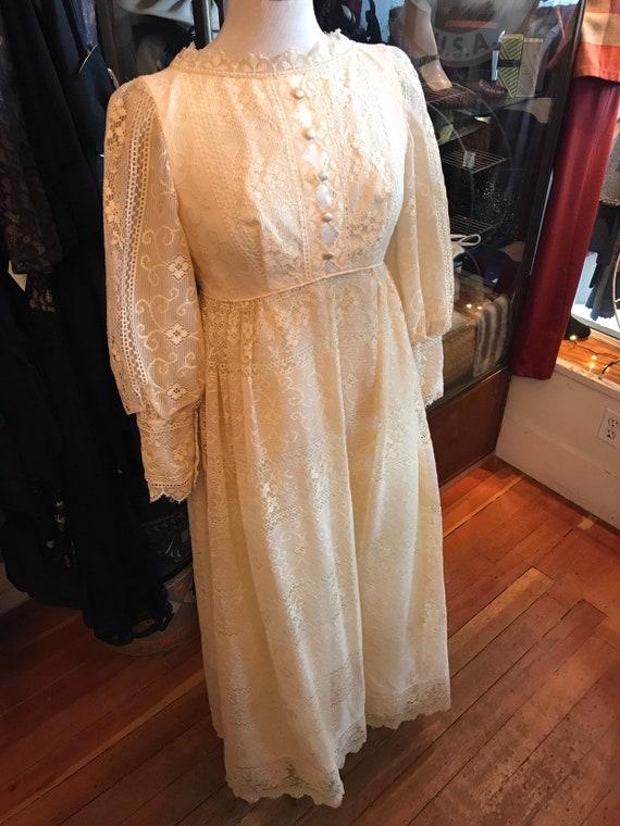 60's boho lace Princess Bride dress| Long Maxi go… - image 10