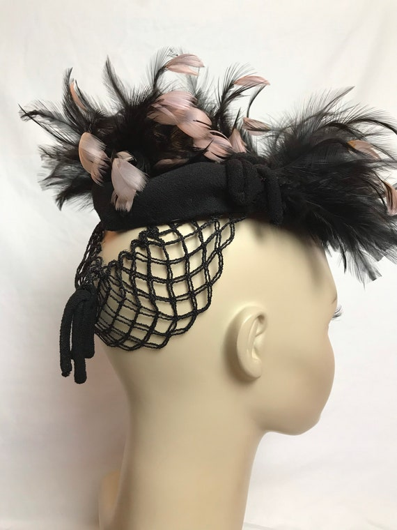 40's G Howard Hodge feather fascinator hat~ pink &