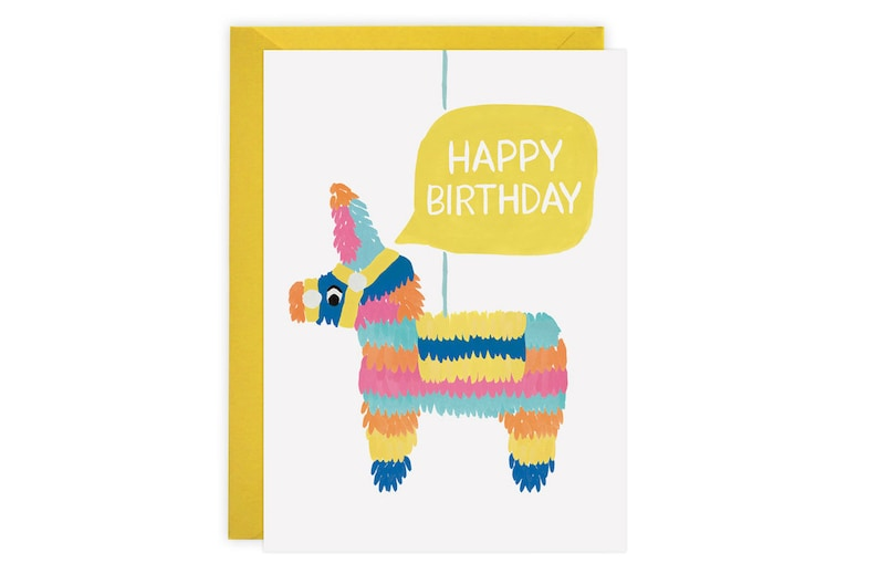 graphic regarding Donkey Pinata Template Printable named Piñata - Birthday Card