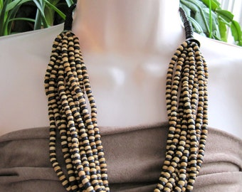 Multi-Strand Wood Beads Necklace from the 1980's