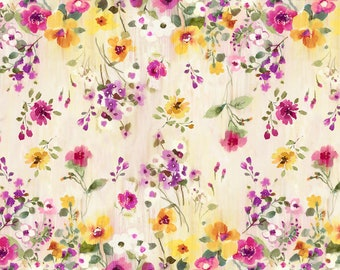 Timeless Treasures - Muse - C5791-Natural - Alice Kennedy - Double Border - Summer - Floral - One More Yard